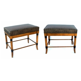 Handsome Pair of American 1960's Ash Faux Bamboo Rectangular Stools