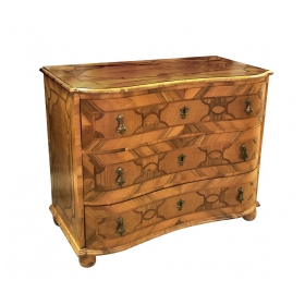 Handsome German Baroque Style Reverse-serpentine Marquetry 3-Drawer Chest