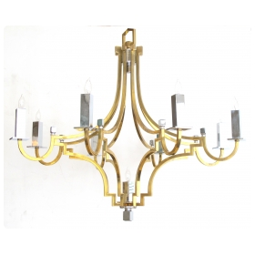 stylish french 1960's brass and chrome 9-light basket-form chandelier