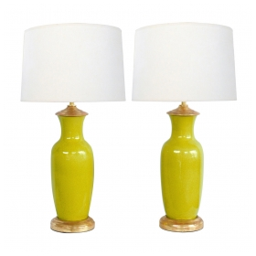Pair of Chinese Chartreuse-Yellow Crackle-glaze Lamps