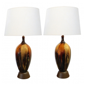 A Tall and Richly-colored American 1960's Ovoid-form Drip-glaze Lamps