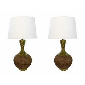 Massive Pair of 1960's Cork Lamps with Mottled Olive-Green Ceramic Mounts