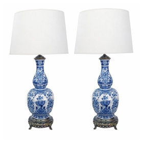A Striking Pair of Antique Dutch Delftware Blue and White Double-baluster Vases now Mounted as Lamps