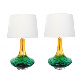 A Large Pair of American 1970's Yellow and Green Art Glass Lamps