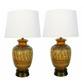Boldly-scaled Pair of Italian 1960's Ochre-glazed Jar-form Lamps with Lava-glaze Decoration