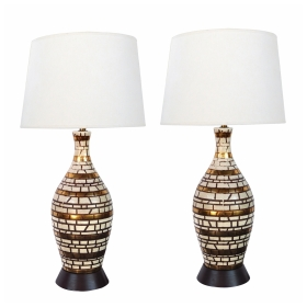 Mid-century Incised Geometric Bottle-form Lamps with Gilt Highlights