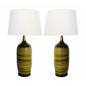 Impressively Large Pair of American 1960's Geometrically Textured Drip Glaze Ceramic Lamps