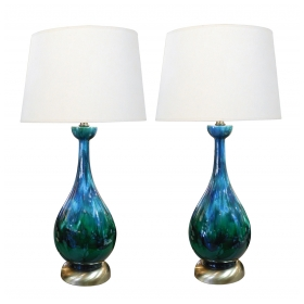 A Richly Colored American 1960's Bottle-form Emerald Green and Blue Drip-glaze Lamps