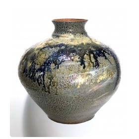 Large Raku-glazed Studio Pottery Ovoid-form Pot
