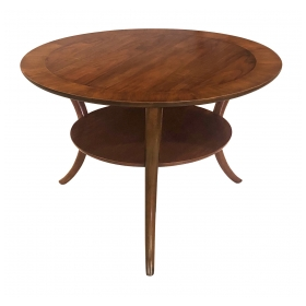Classic Mid-century Robsjohn-Gibbings for Widdicomb Round Walnut Klismos Sabre-leg Table