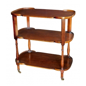 Handsome English Late 19th Century Mahogany 3-tier Bar Cart/étagère