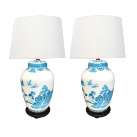 A Good Quality Pair of French 1950's Blue & White Cased Glass Ginger Jar Lamps