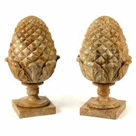 Pair of French Neoclassical Style Carved Buff Granite Pineapple Finials