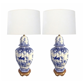 Large Pair of Dutch Delftware Blue & White Glazed Ginger Jar Lamps