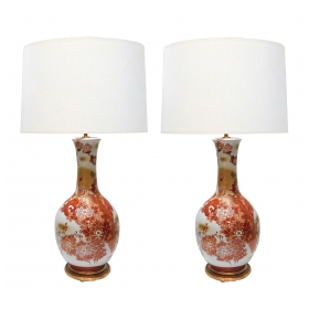 Large Pair of Japanese Kutani Porcelain Lamps