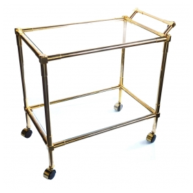 Quality Brass 1960's 2-tier Brass and Glass Bar/Drinks Cart