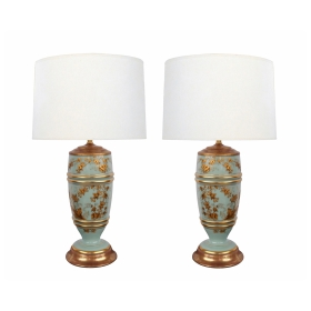 Pair of French 1940's Pale-Blue Opaline Glass Lamps with Gilt Decoration