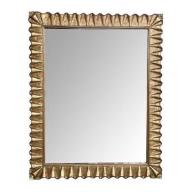 Hollywood Regency Giltwood Mirror with Undulating Ruffled Frame