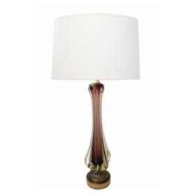 Large Murano Flavio Poli for Seguso Sommerso 1950's Aubergine Fin Lamp