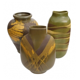 Set of 3 American 1960's Royal Haeger Olive-green Glazed Ceramic Vases