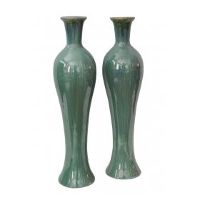 Pair of Japanese Hokkaido Doki Baluster-from Celadon Glazed Vases