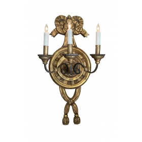 Large Italian Baroque Style 3-Arm Giltwood and Iron Wall Sconce