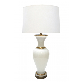 Large French 1960's White Opaline Glass Lamp with Gilt Highlights
