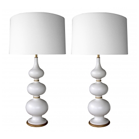 a stylish and mod pair of Gerald Thurston 1960's ivory-glazed ceramic gourd-form lamps