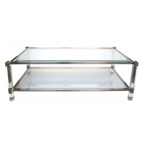 a chic french 1970's pierre vandel nickel, glass and lucite rectangular coffee table