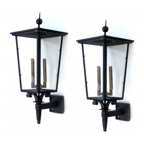 large and sophisticated pair of french art deco 1930's iron and tole glazed quadrangular exterior 4-light lanterns