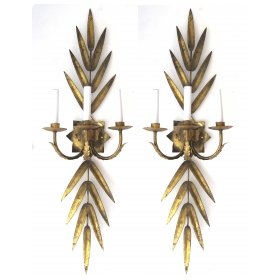 a large pair of italian 1960's gilt-tole 3-arm foliate electrified wall sconces