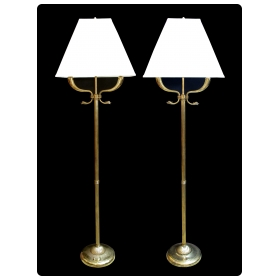 chic and good quality pair of french 1940's empire style brass 2-arm floor lamps with dolphin head motifs