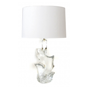 a shapely and sculptural french 1960's clear art glass lamp