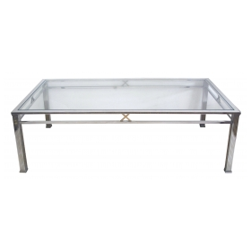 a good quality and stylish french 1970's chrome and brass rectangular coffee/cocktail table with glass top