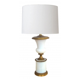 a good quality french 1940's white opaline glass urn-form lamp with gilt-bronze fittings