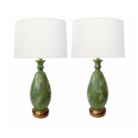 Large Pair of 1960's Celadon Drip Glaze Ovoid-form Lamps