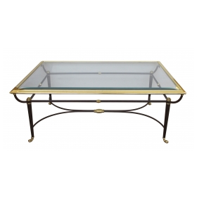 a good quality and stylish french 1950's brass and ebonized metal coffee/cocktail table with beveled glass top