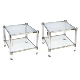 a smart pair of french nickel plated, lucite and glass square side tables in the style of pierre vandel, paris