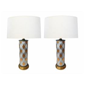 Tall Pair of American 1960's Cylindrical-form Harlequin Cased Glass Lamps