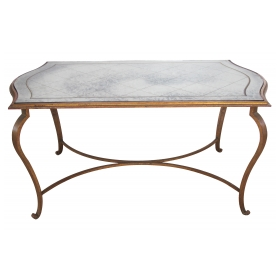 an elegant french 1940's gilt-iron table with eglomise mirrored top in the style of rene prou or rene drouet