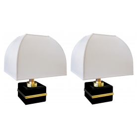 a stylish and unique pair of italian 1970's black lacquered and brass cube lamps with parachute shades; by bicchielli, florence, italy