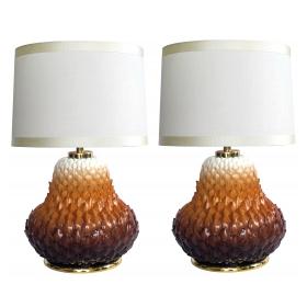 pair of french 1960's russet-glazed artichoke-form porcelain lamps