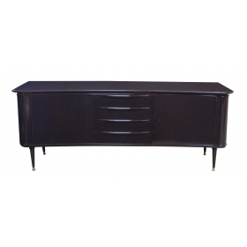 sleek and stylish italian mid-century deep brown lacquered incurved sideboard