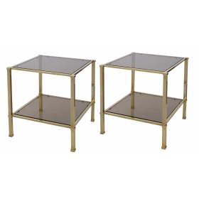 a good quality pair of french 1970's solid brass and smoked glass square side tables