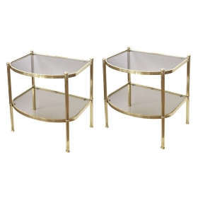 a good quality pair of french 1970's brass and smoked glass bowfront side tables