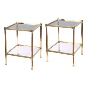 a good quality pair of french roche bobois 1980's solid brass square side table with glass tops