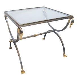 a stylish and good quality french 1960's brushed steel and brass side table with glass and swan supports