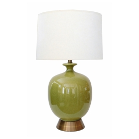Large American 1960's Apple-green Glazed Ceramic Ovoid-form Lamp