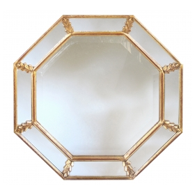 a shimmering french 1960's gilt wood octagonal mirror with foliate elements