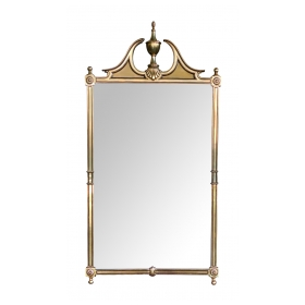 Classically-inspired Chippendale Style Brass Mirror with Broken Arch Pediment